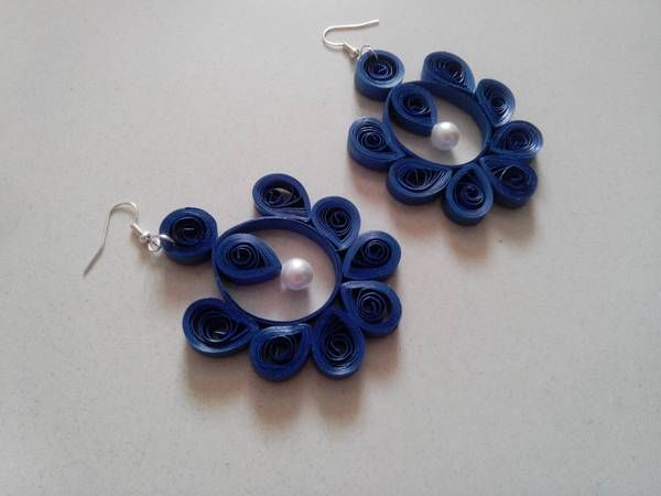 quilling earring designs | quilled earrings blue quilled earrings with a pearl in the center ...