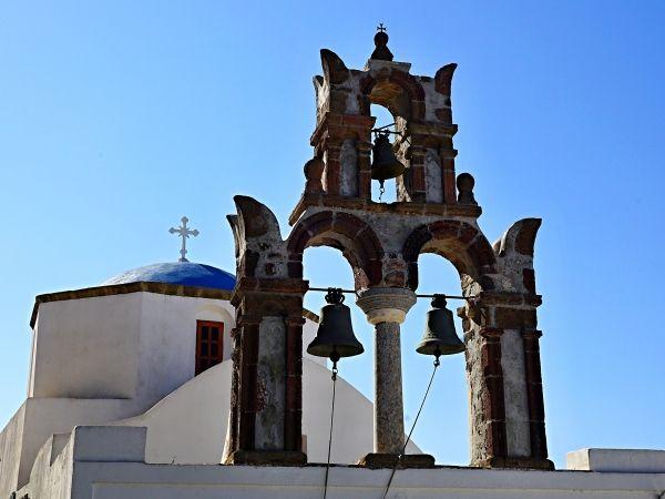 Church and bell tower in Pyrgos, Santorini island