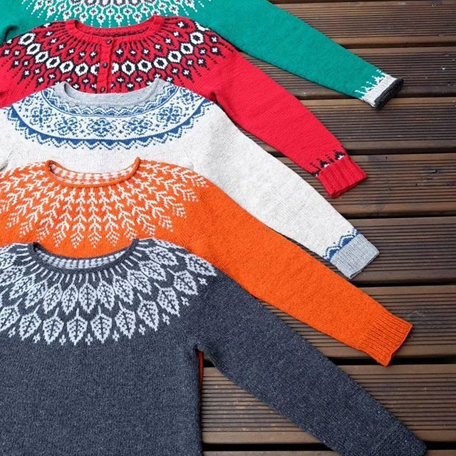 Check out these vibrant yokes knitted by @danekken! ✨❤️From top to bottom: 2 Telja, Seachange, Fern & Feather, and Arboreal. Thank you so much for knitting my designs, Dani! : @danekken .  .  #knitlovewool #arborealsweater #arborealKAL #telja #fernandfeather #teljasweater #knittersofinstagram #knitstagram #instaknit #knit #knitting #slowfashion #handmadewardrobe #handknit #knitallthethings #knittersare