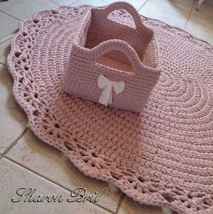 Crochet rug & basket
