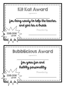 "Recognize each student's best qualities by giving them one of these awards at the end of the year. Accompany it with the matching treat for something they will really enjoy! I like to use a large piece of red bulletin board paper or dollar store table clothes to make a ""runway"" (complete with a star background at the end of the walkway) for the students to walk when they get their award."