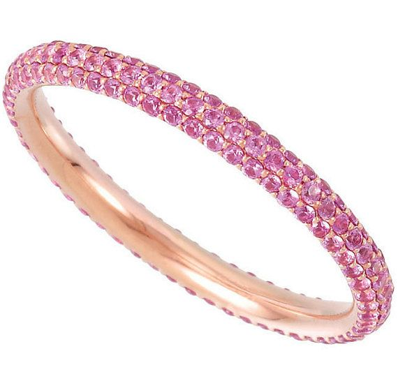 3.4 Carat Pink Sapphire rose gold eternity ring on Etsy, $1,124.20 CAD