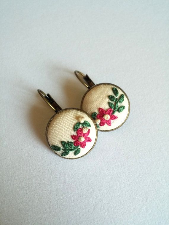 Pink Flower Dangle Earrings Embroidered by RedWorkStitches on Etsy