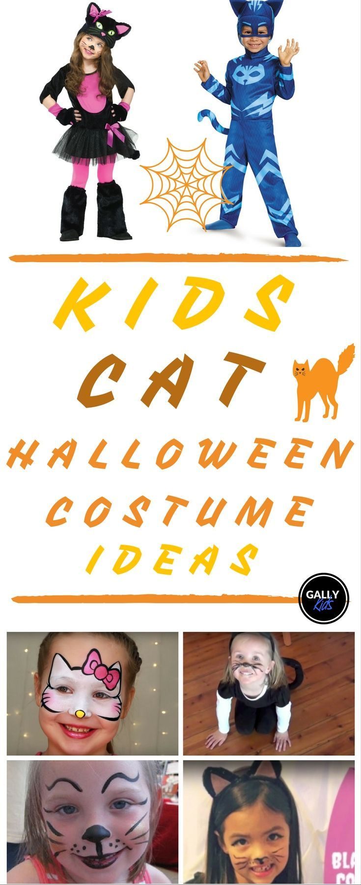 Kids cat halloween costumes + diy and cat face paint tutorials. There are a lot of different cat costume ideas on this list. Whether you want a pink cat, black cat or white cat. Or if your child wants to be Kwazii cat or Catboy, this list will be your guide. #catsdiycostume