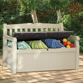 Keter -- Storage Bench. This would be great for outside patio--we could put kids balls and outside toys in it, as well as pillows for patio set. Could this be built cheaply?