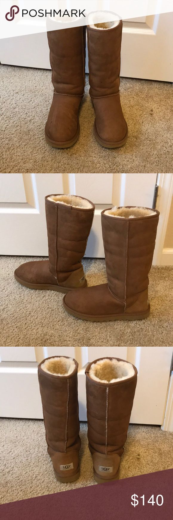 Ugg classic tall boots in chestnut Ugg classic tall boots in chestnut. Great used condition. Super cute folded down with fur showing. A few seasons old, but only worn a handful of times. Recently cleaned and sprayed with ugg water-proof protectant. No water marks or damage. UGG Shoes Winter & Rain Boots #watershoes