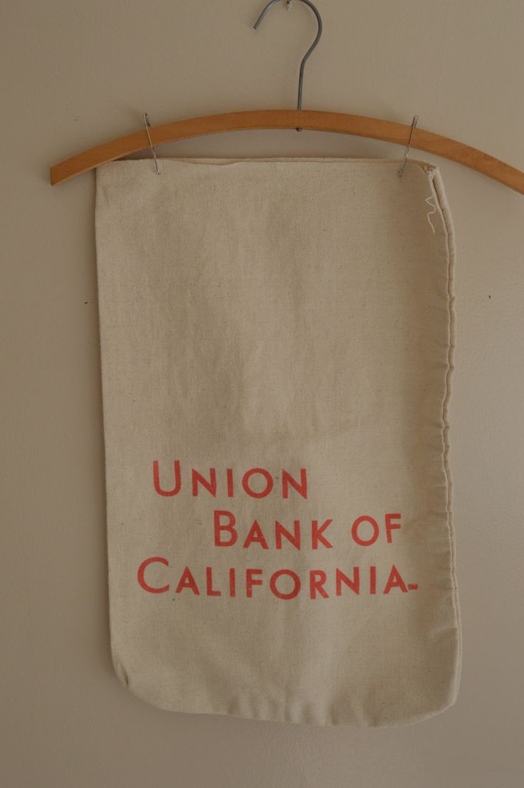 Canvas Money Bags,  Lot of 2 Vintage Union Bank of California  , Wall hanging or Pillows, Shabby Chic, Farmhouse Decor by TiltingDaisies on Etsy