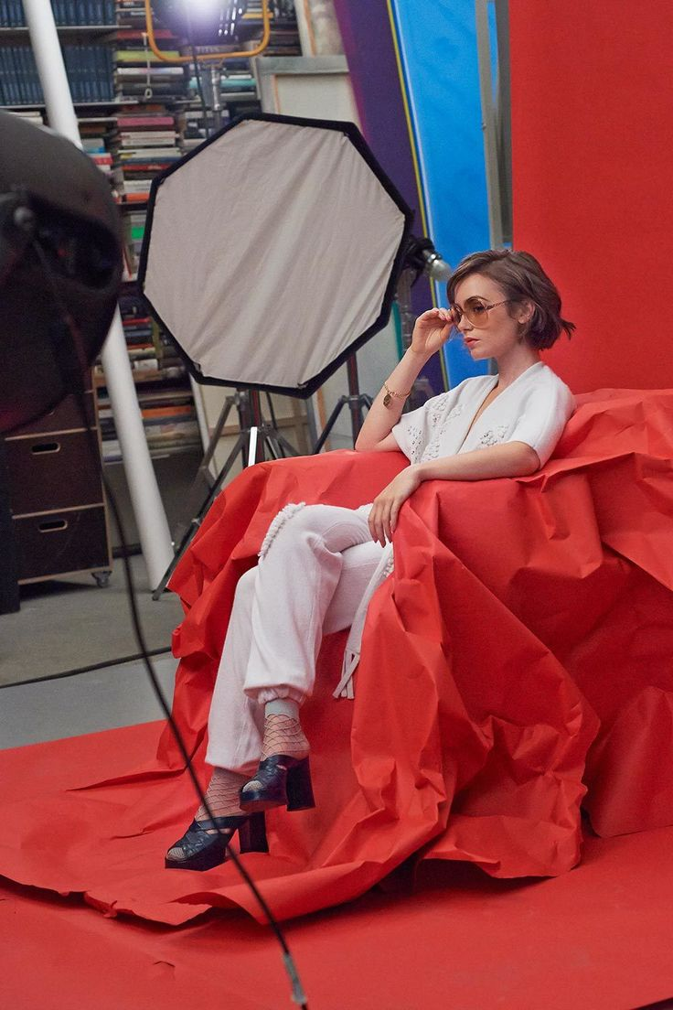 Behind the scenes: Lily Collins for Barrie Knitwear | Lily ...