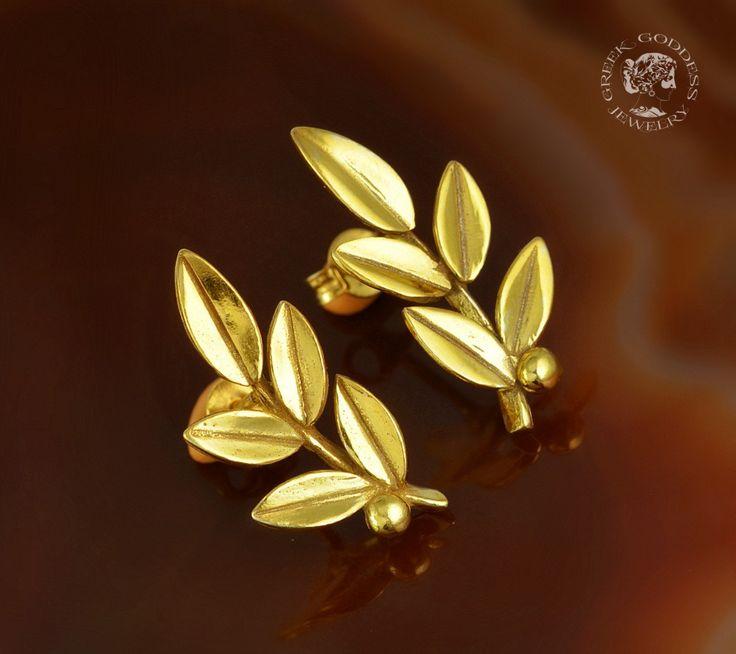 olive leaves golden stud earrings, olive leaf, golden olive leaf, olive leaf earrings, greek earrings, olive leaves, leaf stud earrings by GreekGoddessJewelry on Etsy