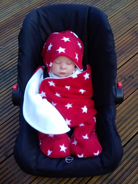 Car Seat Cosy Wrap Swaddle Blanket Baby Red And White Stars