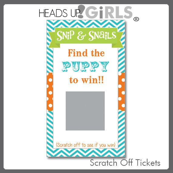 Snips and Snails Puppy Dog Scratch Off Cards for Baby Showers by HeadsUpGirls, $14.00
