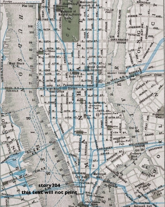 NYC Vintage Map Print 8x10