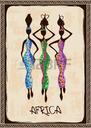 Vintage illusztráció három gyönyörű karcsú afrikai nők színes etnikai mintás ruhák fotó