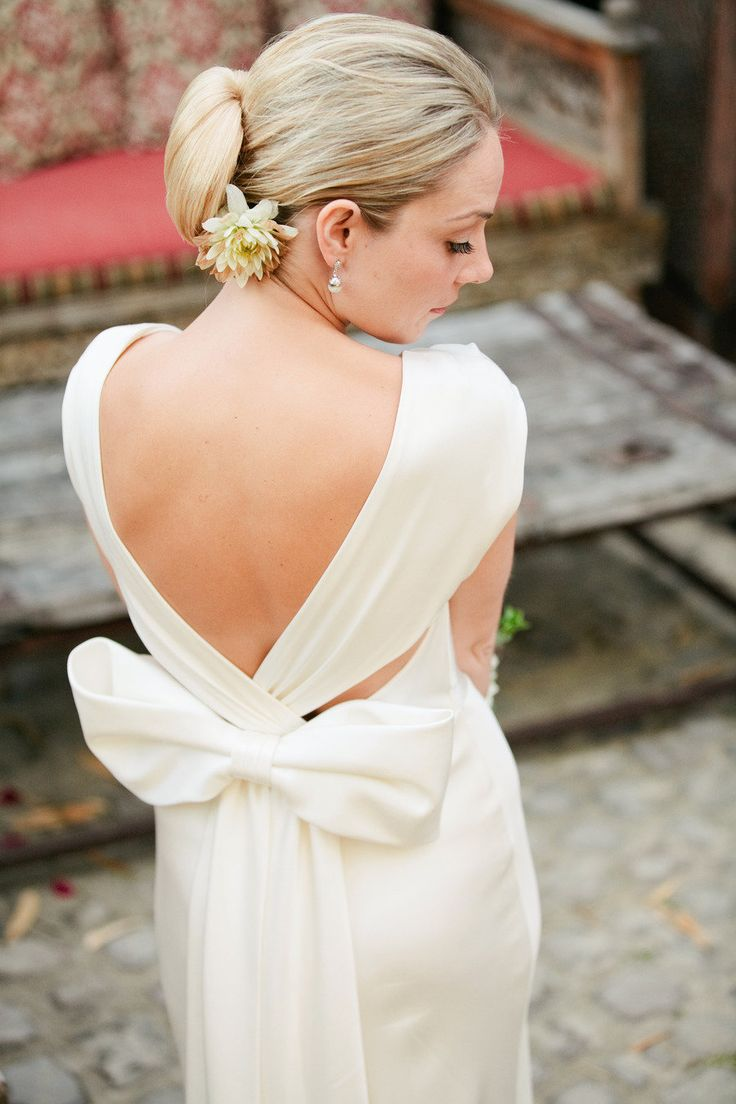 gorgeous dress back with a big bow /  Ashley Dang Photography