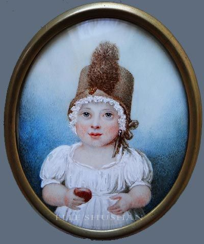 A baby girl by Rupert Green, signed, circa 1795.