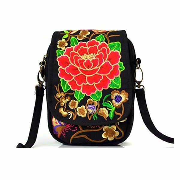 Woman National Floral Canvas 5.5 Inches Phone Bag Casual Crossbody Shoulder Bag - US$9.72  #women  #bags #fashion