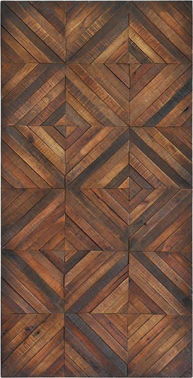 Fine polished veneer in a diamond pattern brings the charm of wood flooring to the wall in this unique decorative piece.: