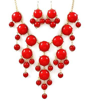 New Red Bubble Necklace  Bubble Bib Necklace  by GlitzedOut, $21.00