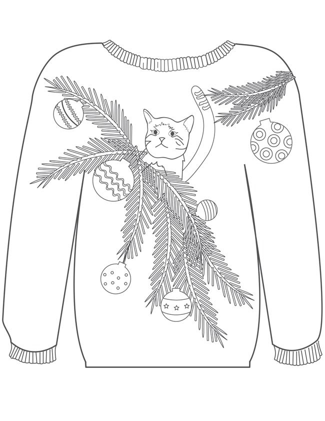 Christmas Coloring Pages - Ugly Sweaters