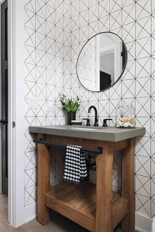 Intersection Black Geometric Wallpaper Bathroom Interior