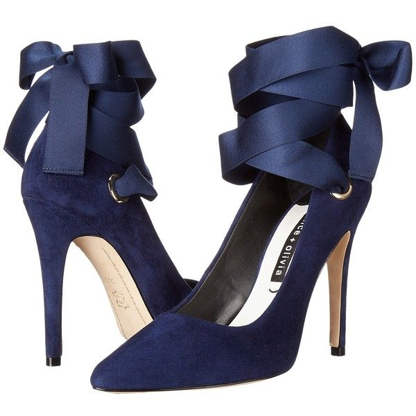 Alice + Olivia Dominque (Sapphire Suede/Ribbon) Women's Shoes found on Polyvore featuring shoes, pumps, pointy toe pumps, stiletto high heel shoes, slip-on shoes, tie shoes and stiletto shoes