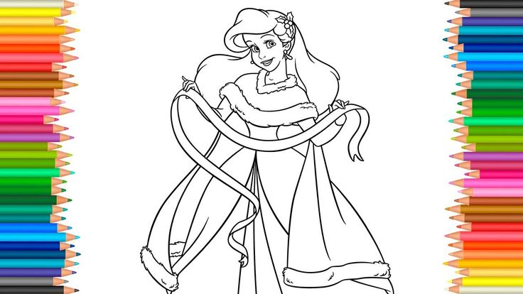 Ariel Disney Princess Coloring Page l Coloring Book Videos For Children ...