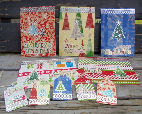 Gift Wrapping  Set of 5 matching Gift Tags by RogueKissedCraft