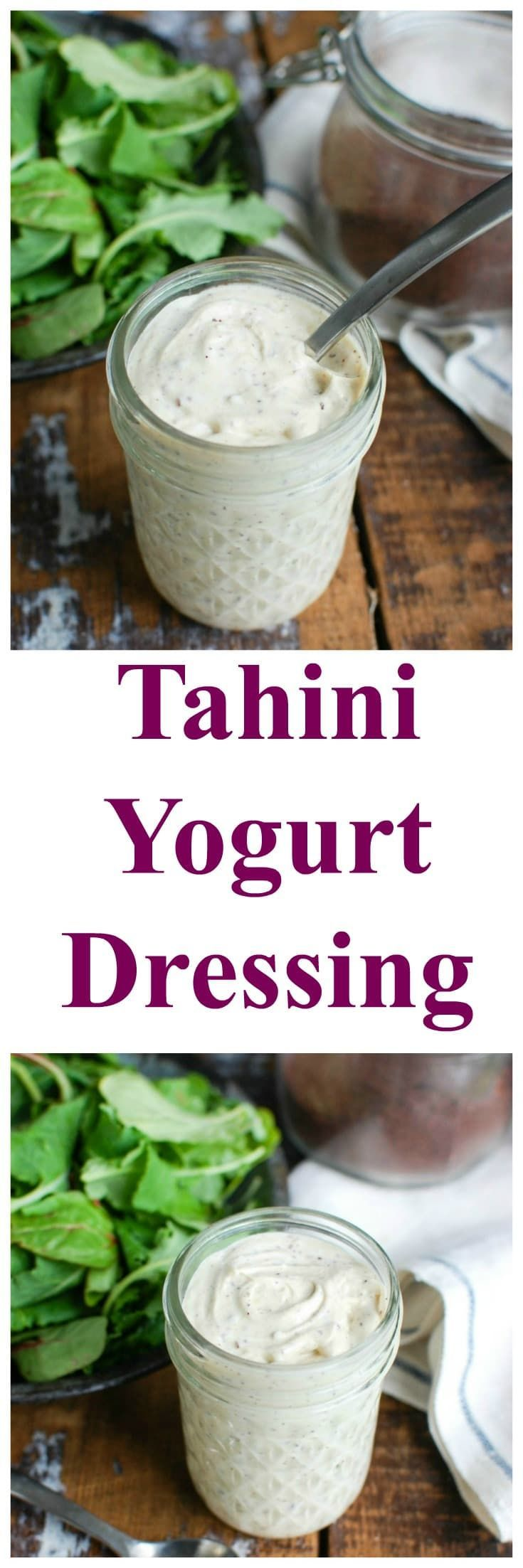 Tahini Yogurt Dressing is a light dressing that is a nice addition to salads, grilled vegetables and meats and drizzled on potatoes. Tahini, yogurt, lemon juice, olive oil, garlic and sumac are mixed to create the perfect sweet, tangy dressing. // A Cedar Spoon