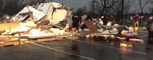 People survey storm damage in Sand Springs, Oklahoma (AP) Deadly tornadoes strike Arkansas, Oklahoma One person is dead and several others injured after a storm barrels through a trailer park near Tulsa. 'We didn't take any chances'