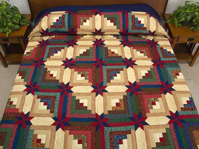 Colorado Star: Quilts Patterns, Blue Green Logs Cabins Quilts, Logcabin Quilts, Amish Quilts, Amish Colorado, Green Colorado, Colorado Logs, Stars Logs Cabins Quilts, Colorado Stars
