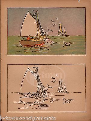 OLD MAN SAILING ON THE OPEN WATER ANTIQUE GRAPHIC ART KIDS ROOM POSTER PRINT