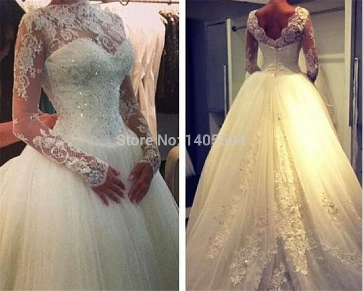 Wedding Dresses A Line Scoop Beaded Sequin Fold Lace Beading pleats Pleated Full sleeve Bridal Gowns sheer 2105 New Arrival