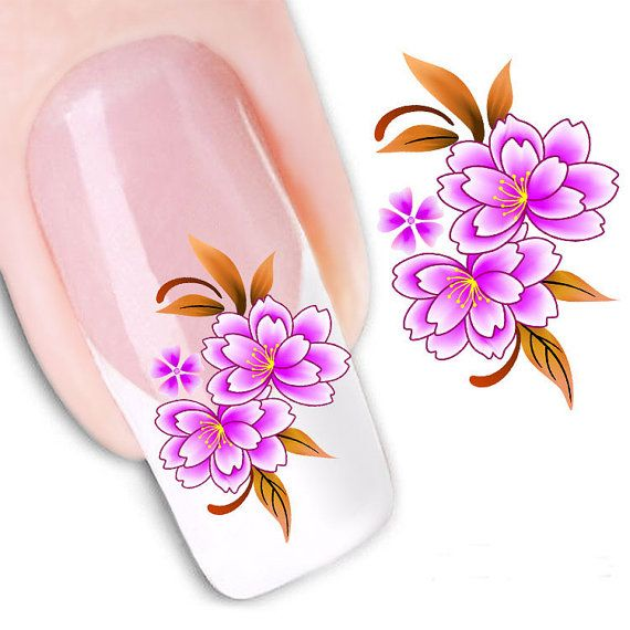 Nail Stickers  Nail Art Water Transfers Stickers Pink by eArtStore
