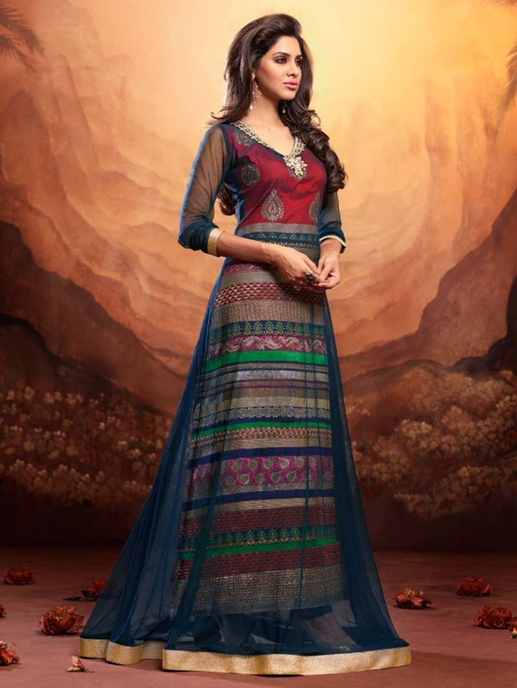 Multi Colour Party Wear Salwar Kameez Suit