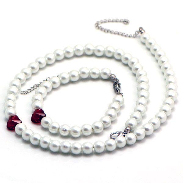 SE3221SWPOC Oceľový set s perličkami a Swarovski srdiečkami : Šperky Swarovski, SuperSperky.sk