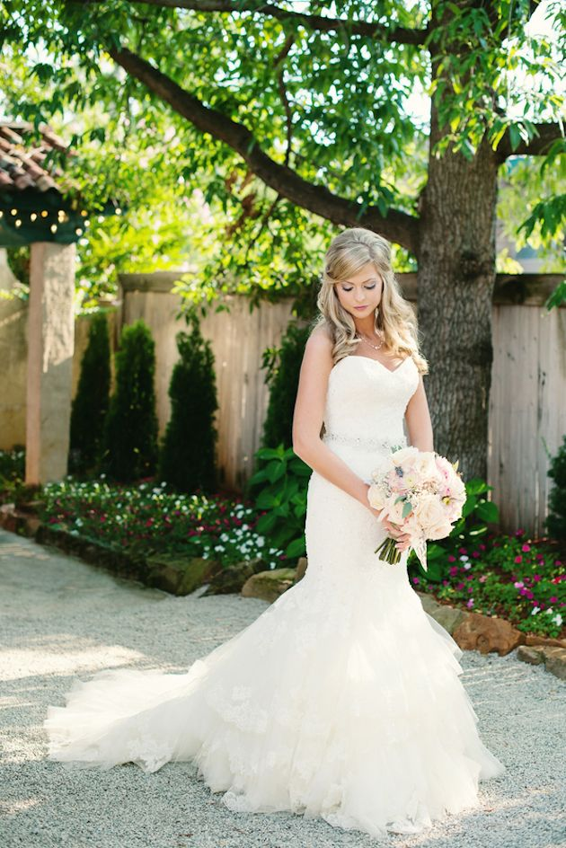 beautiful bride in a strapless fishtail wedding dress