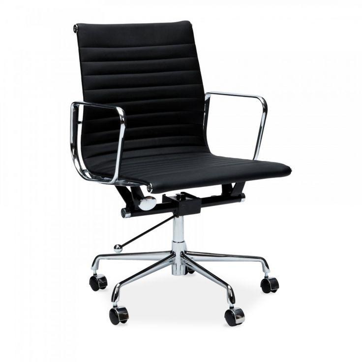 Eames Inspired Kontorsstol i räfflad stil – låg svart