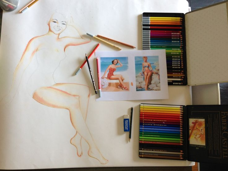 Pin up disegno con pastelli by  www.vitaacolory.it