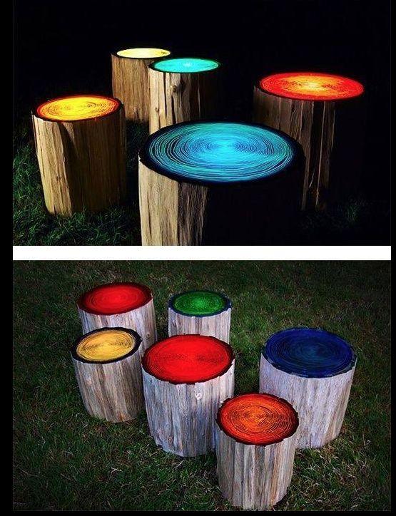 Banquetas troncos colores