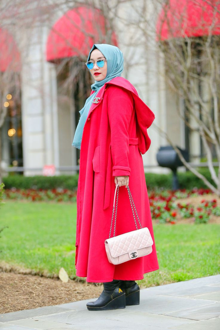 Always Love This Red Coat ❤️❤️❤️ , Hijab Street Style