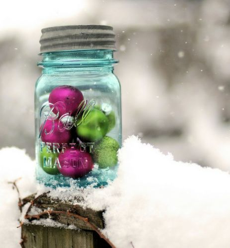 Outdoor Christmas decoration..or indoor--maybe put some 'fake' snow in bottom of jar