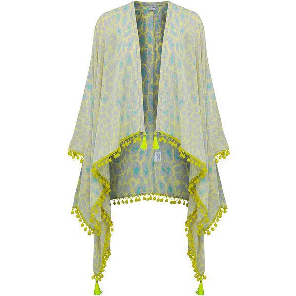 Mercy Delta Quinn Pom Pom Kaftan - Safari & Meringue (4.015.040 IDR) ❤ liked on Polyvore featuring tops, tunics, white kaftan, draped tunic, white silk top, summer kaftans and silk kaftan