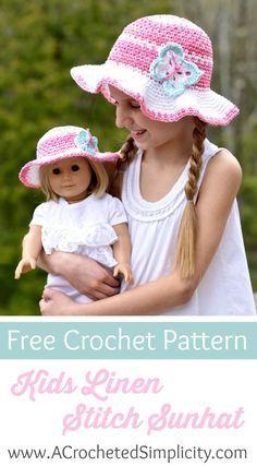 Free Crochet Pattern - Kids Linen Stitch Sunhat by A Crocheted Simplicity