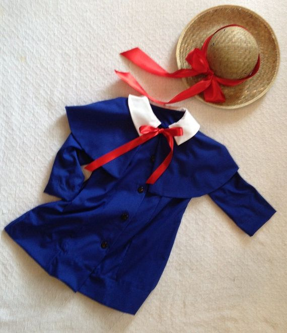 Madeline Costume with attached cape and ribbon trimmed hat by AGH Custom Costumes.  Find us on Facebook and Etsy.