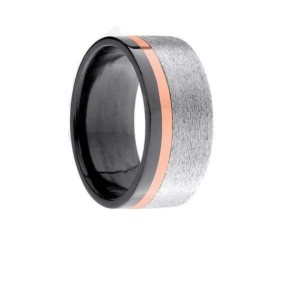 10mm Black Zirconium Ring Pipecut One Off-Center 1.5mm Groove with Rose Gold Inlay - Stone/Polished Finish