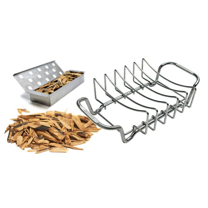 Barbecue Rib Rack & Smoking Kit | Barbecue Bundles £39.99 A professional 100% Stainless Steel rib rack, complete with Stainless smoker box (both Broil King accessories) then a choice of smoker chips. • Broil King Smoker Box 60185 • Broil King Rib Rack 62602 • 2lb Pack of Smoker Chips (choose from drop down)