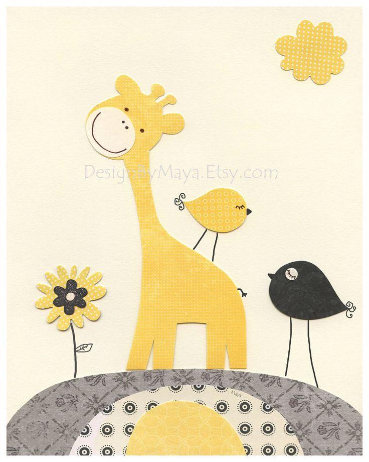 Kids Yellow and Gray Nursery Art Decor. Nursery Decor. Baby Boy Nursery Room Art. Baby Boy Owl. First We Had. Yellow and Gray. $17.00, via Etsy.