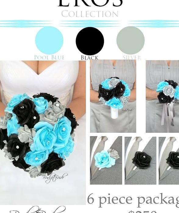 Pool Davids Bridal Wedding Bouquet With Sliver And Black Flowers Artificial With Bling Em 2020 Casamento