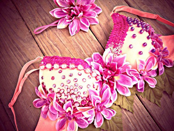 Hawaiian Princess Rave Bra by TheLoveShackk on Etsy, $75.00