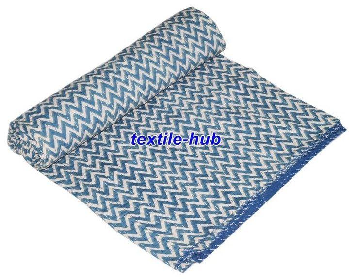 Indian Indigo Blue Kantha Quilt Ikat Gudri Handmade Queen Bedspreads Throw Ralli #Handmade #AsianOriental